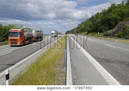 truck transport on busy highway