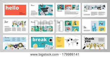 poster of Business presentation templates. Flat design vector infographic elements for presentation slides, annual report, business marketing, brochure, flyers, web design and banner, company presentation.