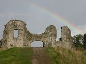 Newcastle Emlyn Castle With Rainbow
