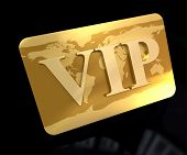 3D rendering of a golden card with the word VIP engraved on it