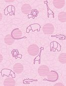 stock photo of alligator baby  - Vector seamless pattern showcasing cute little baby safari animals - JPG