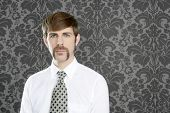 businessman retro mustache over gray wallpaper tie and shirt poster