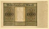 Antique 1922 German Y 10000 Deutsche Mark, Back