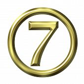image of number 7  - 3D golden number 7 isolated in white - JPG