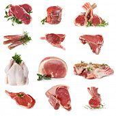stock photo of porterhouse steak  - Cuts of raw meat - JPG