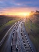 Railway Station With Motion Blur Effect poster