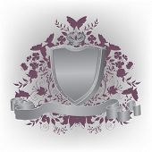 stock photo of armorial-bearings  - Heraldic composition with silver arms - JPG