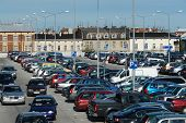 picture of parking lot  - Aerial view of shopping center car crowded parking lot - JPG