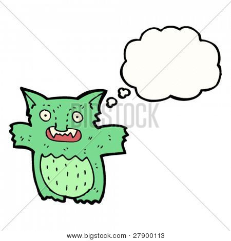 cartoon gremlin with thought bubble