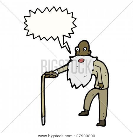 oude man walking cartoon