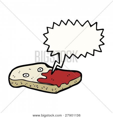 toast cartoon character covered in jam