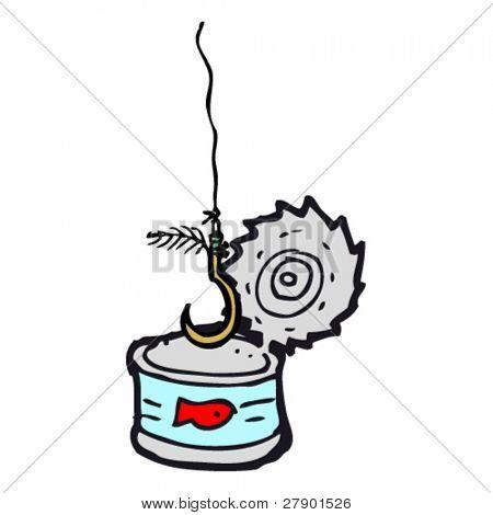 empty tuna can with fish hook cartoon