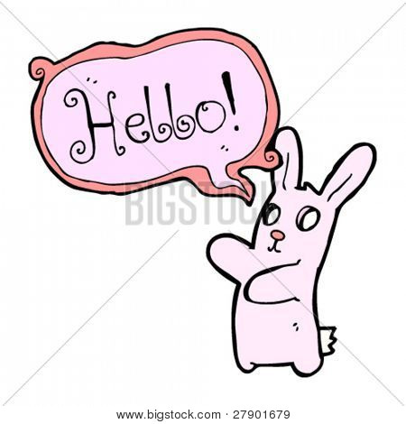 weird hollow eyed bunny rabbit saying hello