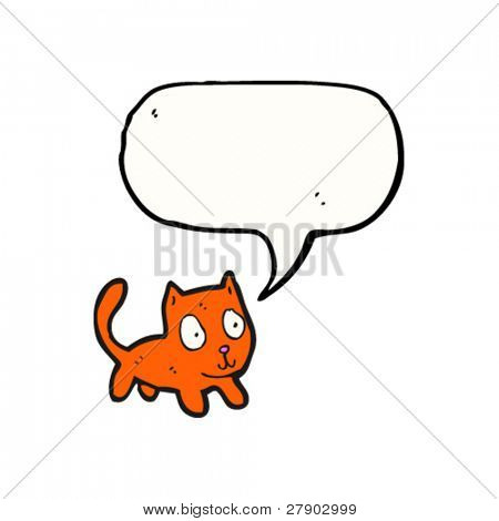 odd little cat with speech bubble cartoon