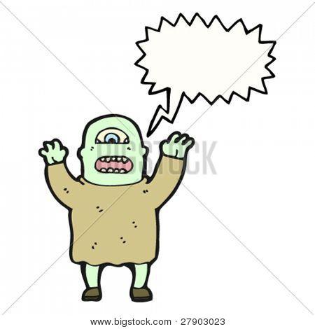 ogro de dibujos animados gritando