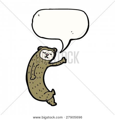 odd bear cartoon with speech bubble