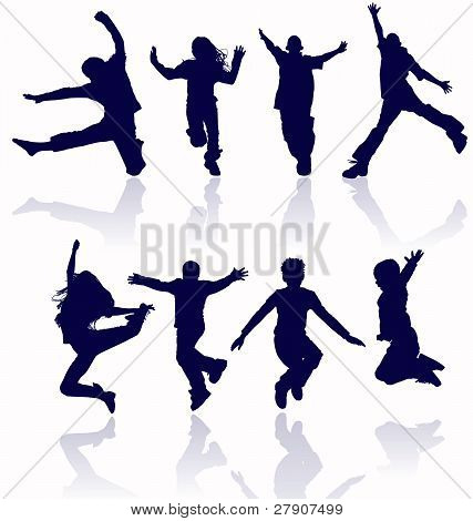 Boys And Girls Jumping Vector Silhouette With Reflections.
