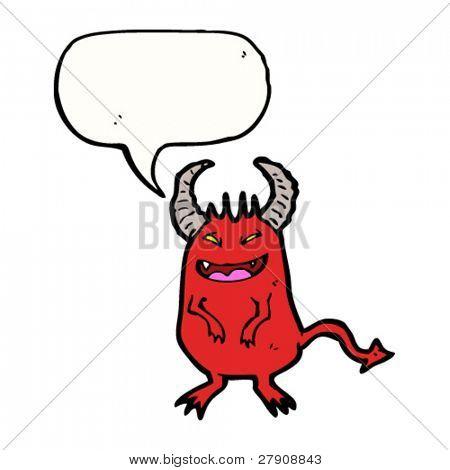 sneaky devil with speech bubble cartoon