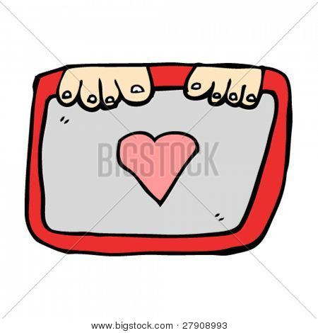 authentic looking child's drawing of a framed heart