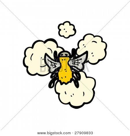 buzzing bee in flight cartoon