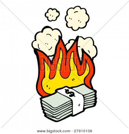 burning stack of money cartoon