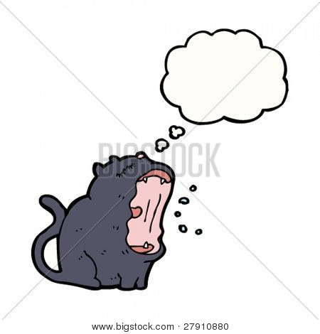 yawning black cat cartoon