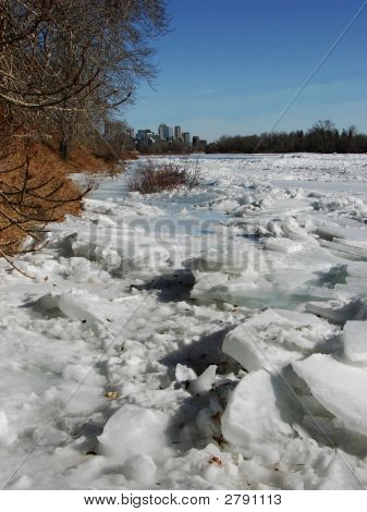 River Ice At Spring - Calgary
