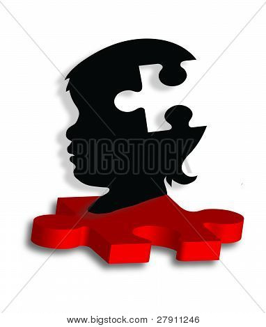 Child's silhouette on autism puzzle piece