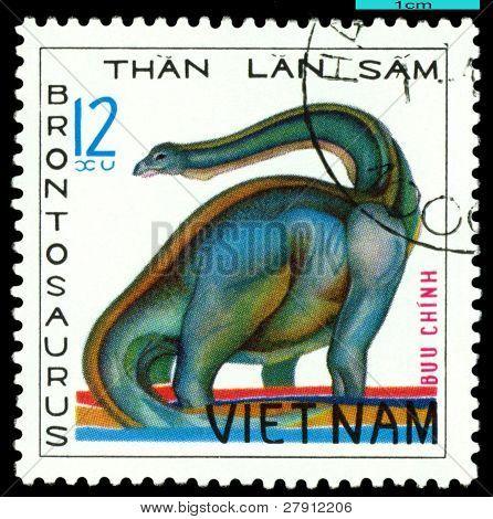 Vintage  Postage Stamp.  Brontosaurus.