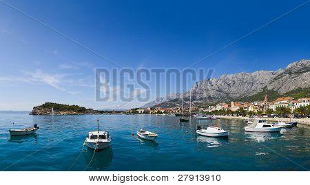 Panorama Of Makarska In Croatia