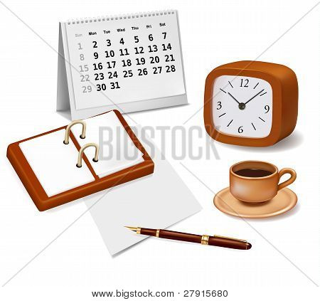 Open book, clock and a cup of coffee. Design elements. Vector.