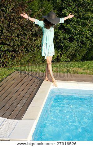 Woman On Pool Corner