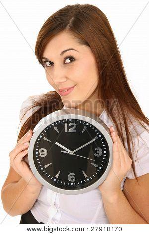 Beautiful Girl Holding A Clock