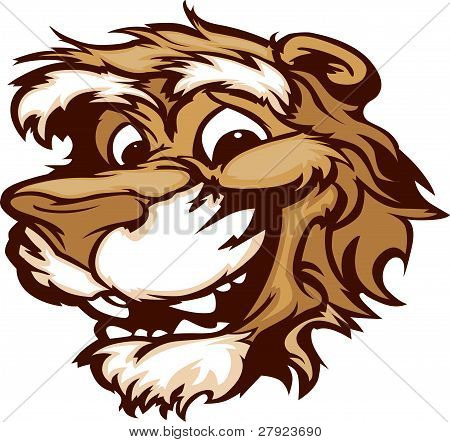 Smiling Cartoon Cougar Mountain Lion Mascot Vector Graphic