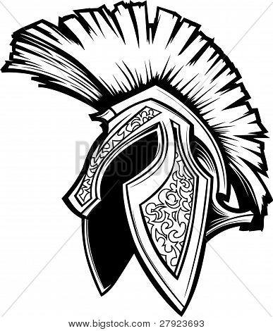 Spartan Trojan Helmet Mascot Vector Image