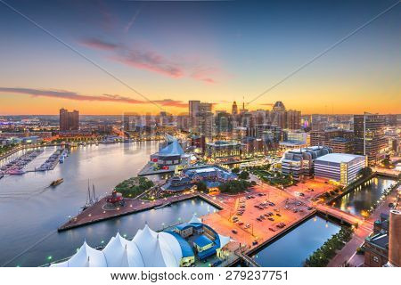 poster of Baltimore, Maryland, USA city skyline over the Inner Harbor at twilight.