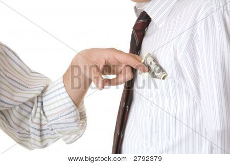 The Businessman Give Money His Shirt Pocket