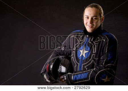 Young Sportsman With Sports Helmet Front Black Background