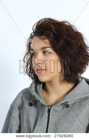 Beautiful Brunette in Grey Hoodie