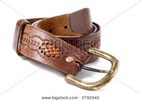 Brown Leather Old Belt With Decoration