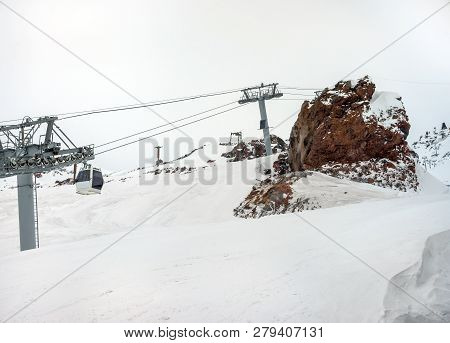 Cableway In Motion On Rise