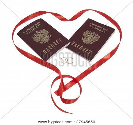 Two Passports, Two Rings In Heart,  Isolated.