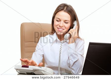 Smiling Woman Dial Phone In The Office Workplace