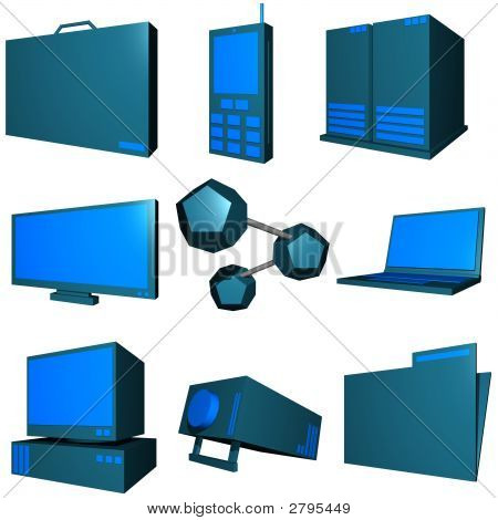 Information Technology Business Industry Icons Set - Green Blue