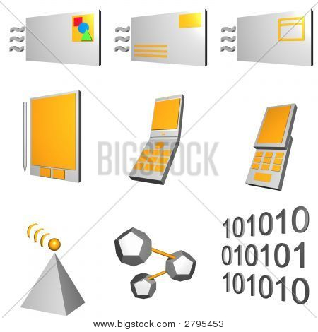 Telecommunications Mobile Industry Icons Set - Gray Orange