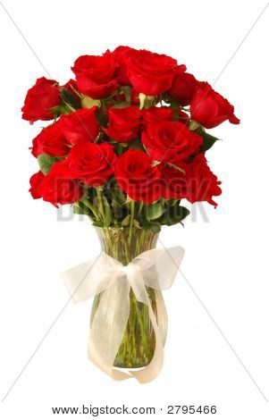 Roses Red In Vase With Bow