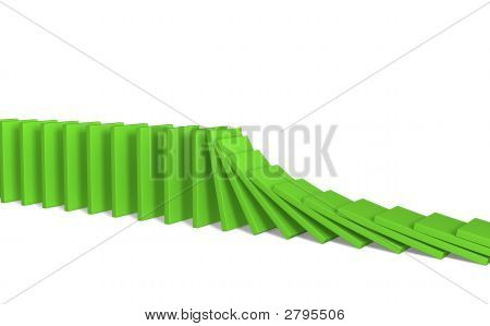 A Line Of Green 3D Falling Figures Of A Dominoes