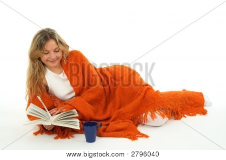Cozy Girl Reading A Book, Smiling