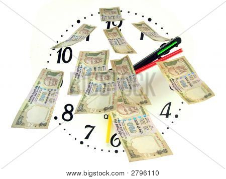 Inr 500-Indian Bank Notes Against Clock Dial