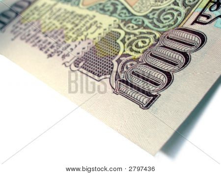 Partial Image Of Indian Bank Note Inr 1000